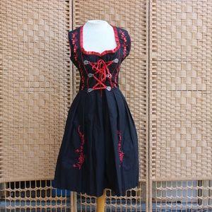 Vintage Black / Red Floral Dirndl Dress